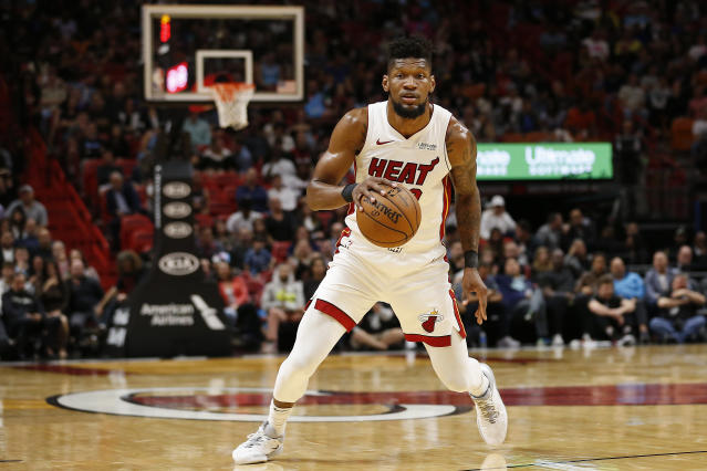 Chris Silva hadn't seen his mom in three years. So the Heat surprised the two-way player on Friday, flying his mom to the United States from Africa. (Michael Reaves/Getty Images)