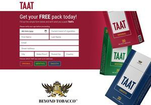 The Company's TryTaat landing page (http://trytaat.com), where current tobacco smokers of legal age in the United States can request a free sample pack to be sent to them by mail