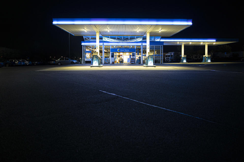 KODERSDORF, GERMANY - APRIL 22: An empty petrol station is pictured on April 22, 2020 in Kodersdorf, Germany. Because of the decreasing demand for crude oil the price for fuel become very cheap. (Photo by Florian Gaertner/Photothek via Getty Images)