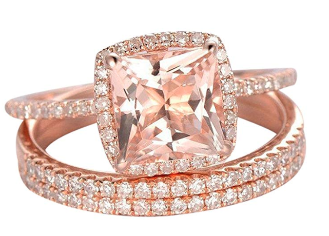 Sale on Trio Wedding Ring Set, 2 Carat Morganite and Diamond Trio Set, Engagement Ring and 2 Matching Wedding bands, 10k Rose Gold. Image via Amazon.