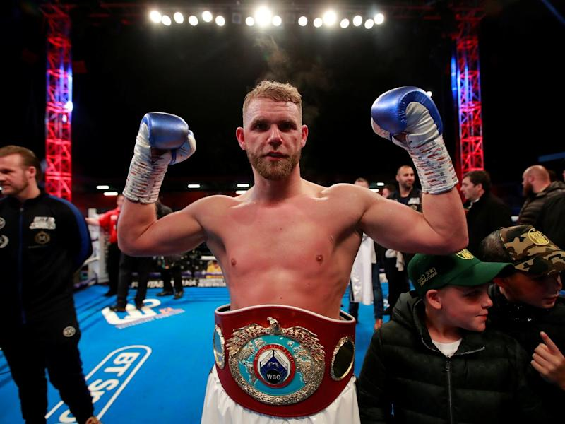 Billy Joe Saunders celebrates his victory over Shefat Isufi: Reuters