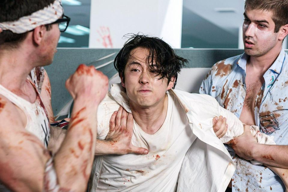 <p>Yeun went from major side character to bonafide lead in the 2017 horror-comedy <em>Mayhem</em>. The star plays Derek Cho, a lawyer who starts to lose himself in his corporate job and gets trapped in quarantine with his colleagues as a vicious virus rips through the building and causes everyone to act on their darkest impulses. </p>