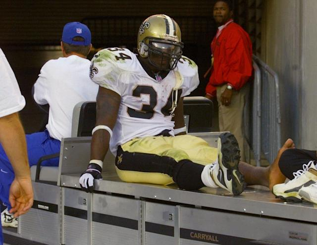 "The Saints gave up a king's ransom to get <a class=""link rapid-noclick-resp"" href=""/ncaaf/players/254676/"" data-ylk=""slk:Ricky Williams"">Ricky Williams</a>, who only ended up playing three seasons in New Orleans. (AP)"