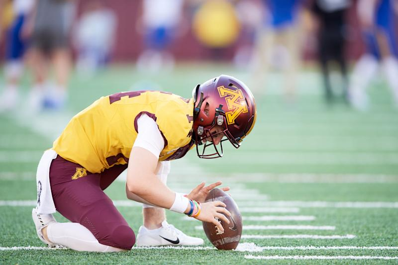 MINNEAPOLIS, MN - AUGUST 29: Casey O'Brien #14 of the Minnesota Gophers warms up before the game against the South Dakota State Jackrabbits on August 29, 2018 at TCF Bank Stadium in Minneapolis, Minnesota. The Gophers defeated the Jackrabbits 28-21. (Photo by Hannah Foslien/Getty Images)