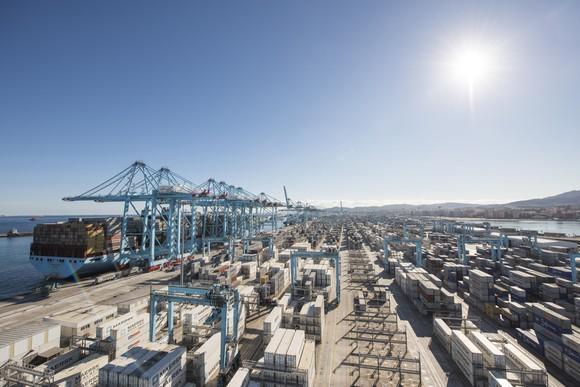 A container shipping port.