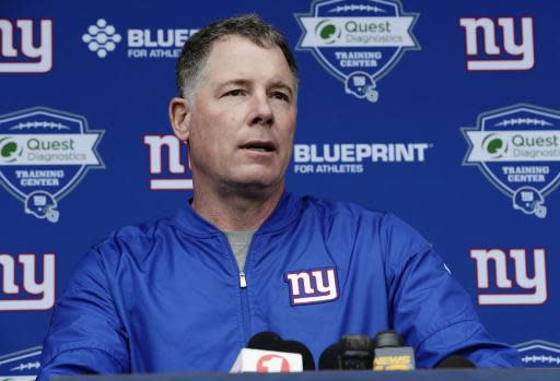 New York Giants head coach Pat Shurmur speaks at a news conference at NFL football rookie camp, Friday, May 11, 2018, in East Rutherford, N.J. (AP Photo/Frank Franklin II)
