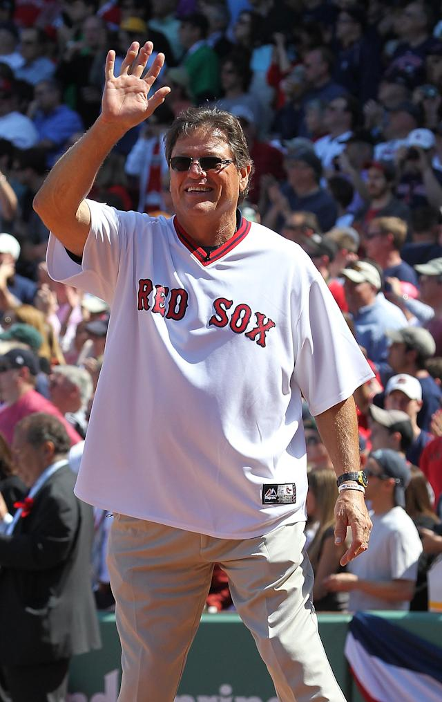 BOSTON, MA - APRIL 20: Boston Red Sox player Carlton Fisk enters the field during 100 Years of Fenway Park activities before a game between the Boston Red Sox and the New York Yankees at Fenway Park April 20, 2012 in Boston, Massachusetts. (Photo by Jim Rogash/Getty Images)