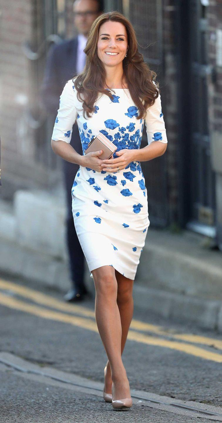 <p>Kate in an L.K. Bennett dress on a visit to Luton, England.</p>