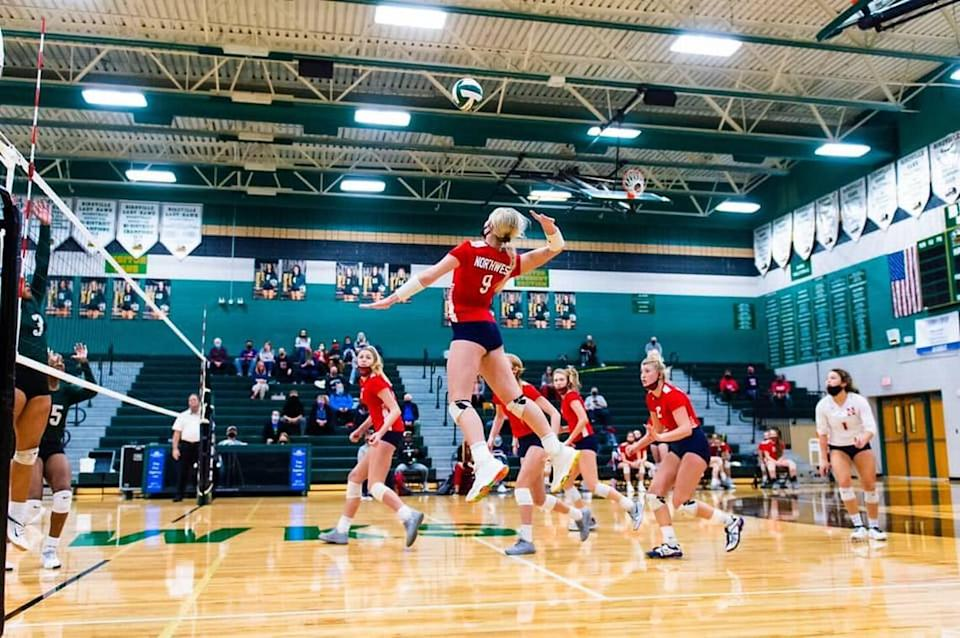 Justin Northwest junior Makenna Miller, picture against Birdville on Oct. 24, 2020, had a school-record 34 kills against Grapevine as the Texans rallied to win in five Oct. 27, 2020. (Matthew Smith/Special to the Star-Telegram)