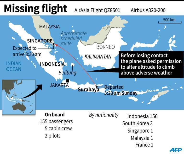 Graphic on the AirAsia flight that went missing on Sunday morning with 162 people on board