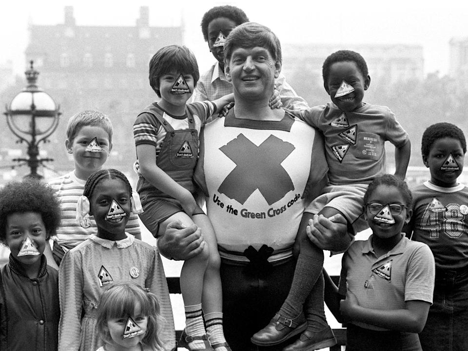 Actor Dave Prowse in his role as the Green Cross Code Man in 1982 (PA)