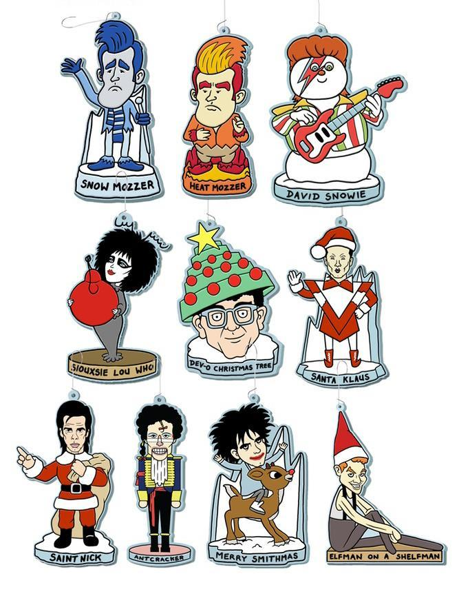 <p>Morrissey may not wear fur, but fir can wear him. Your most beloved '80s post-punk icons are now fit for hanging on the tree, with these ornaments that comically cast them in the roles of Christmas TV icons. The ex-Smiths frontman is both Heat Mozzer and Snow Mozzer, while a certain Banshee is Siouxsie Lou Who. Saint Nick, of course, is a Cave-man. (<span>Buy here</span> for $10) (Credit: mlinehamart.com) </p>
