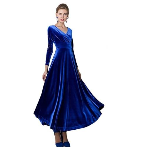 Urban CoCo Women Long Sleeve V-Neck Velvet Dress in Royal Blue—perfect after the holidays too, for a winter wedding. (Photo: Amazon)