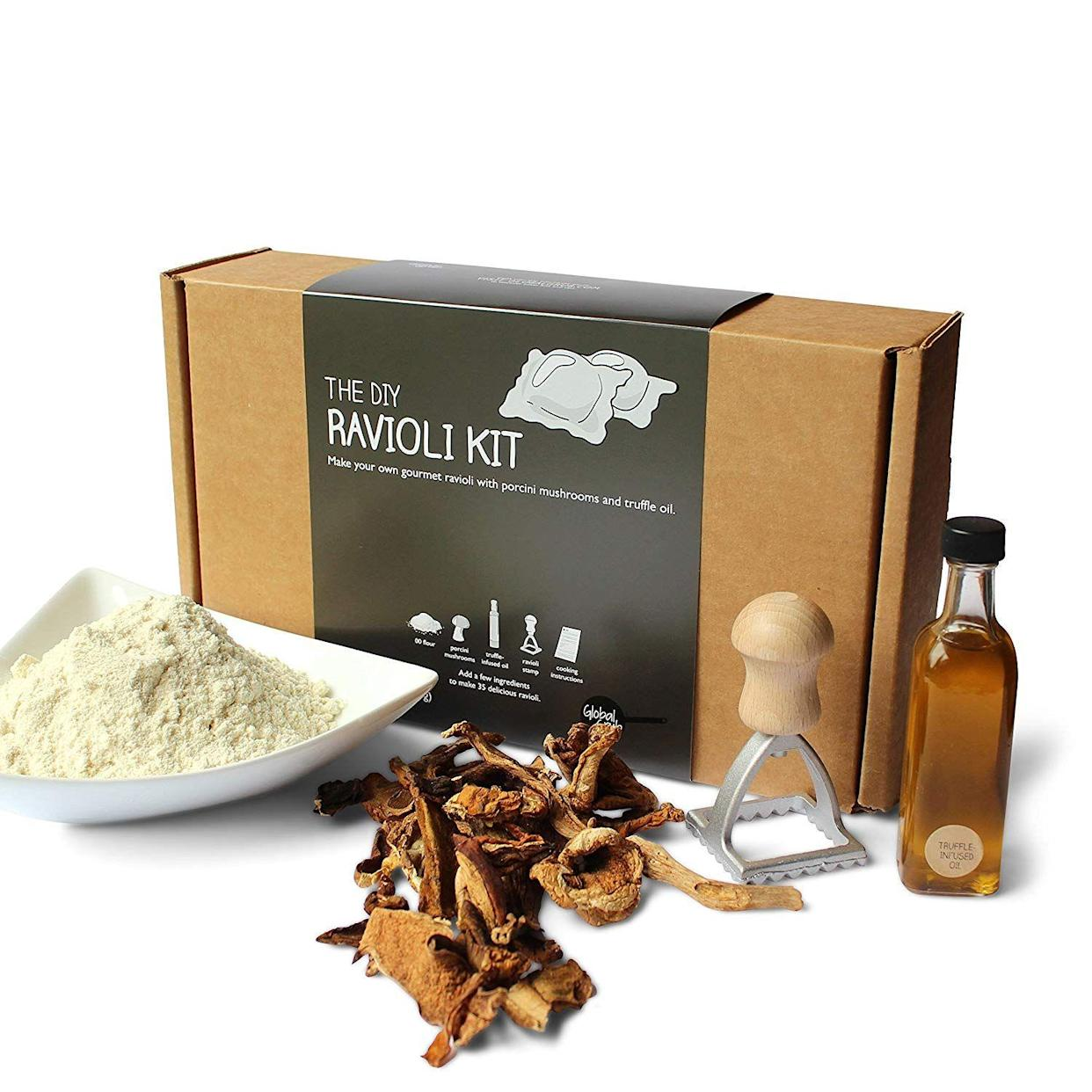 "<p><strong>The Gift: Ravioli-Making Kit</strong><br>Nothing says, ""team work makes the dream work,"" like making raviolis together at home.</p> <br> <br> <strong>The DIY</strong> Ravioli Kit, $28.49, available at <a href=""https://www.amazon.com/DIY-Ravioli-Kit-Step-Step/dp/B06XWW7LHR/ref=sr_1_9_a_it"" rel=""nofollow noopener"" target=""_blank"" data-ylk=""slk:Amazon"" class=""link rapid-noclick-resp"">Amazon</a>"