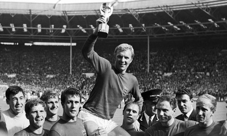 Roger Hunt, third left, celebrating the England team's 1966 World Cup win.