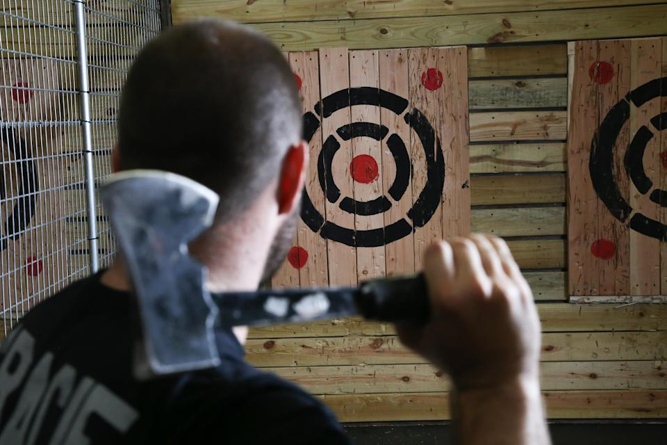 Axe-throwing has grown in popularity across the U.S. Two New Jersey couples are cashing in on the craze.