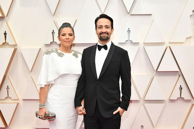 """The """"Hamilton"""" creator looks dapper, and his wife Vanessa Nadal makes excellent use of an embellished shoulder."""