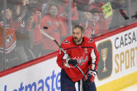 Washington Capitals left wing Alex Ovechkin warms-up before a preseason NHL hockey game against the New Jersey Devils, Wednesday, Sept. 29, 2021, in Washington. (AP Photo/Nick Wass)