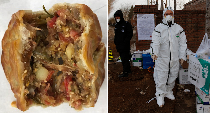 Split screen. A seized pork roll. A Chinese worker at a pig farm wearing bio hazard clothing.