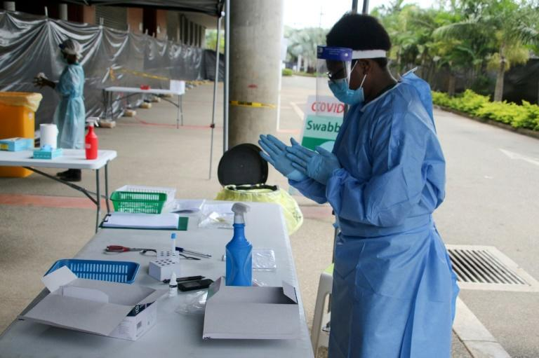 A sports stadium in Port Moresby is being used as a makeshift Covid-19 clinic