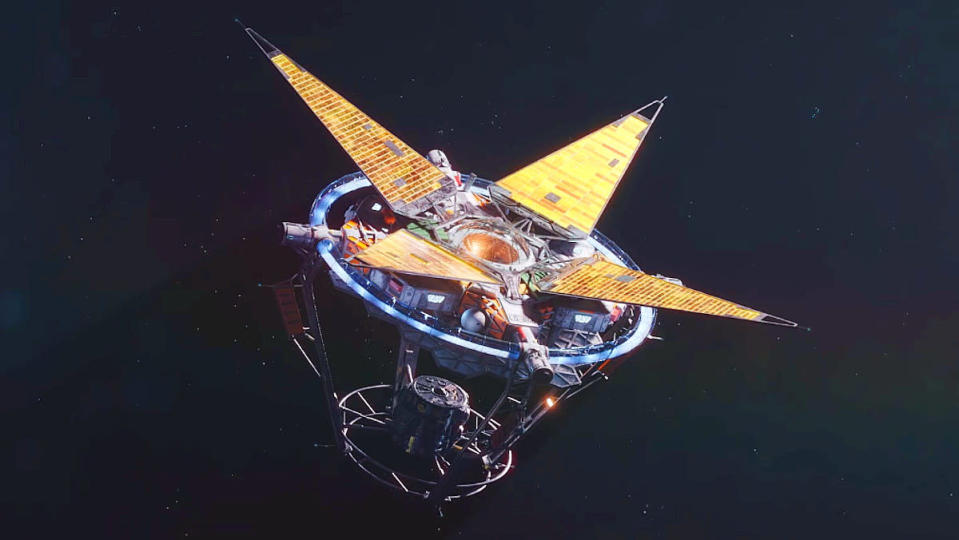 A satellite in space with sensors open in Starfield
