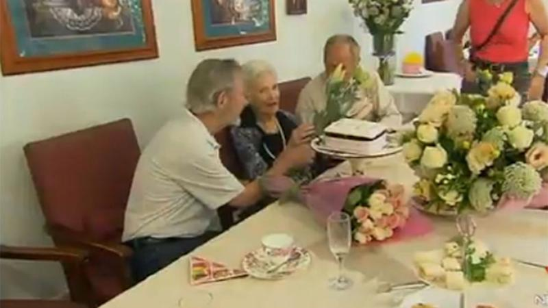 Marjorie Cooke celebrated her 110th birthday with family and friends, including her two sons. Photo: 7 News