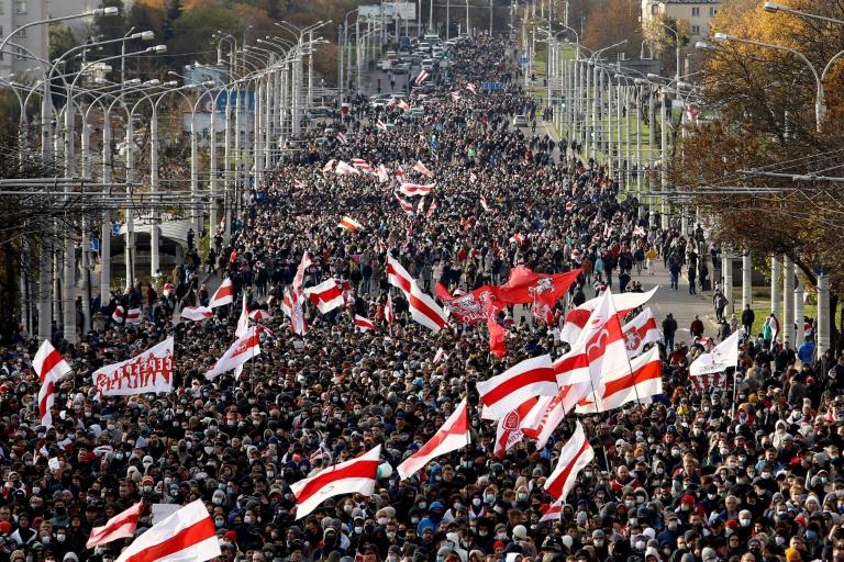 Tens of thousands march in Belarus despite police threat to open fire