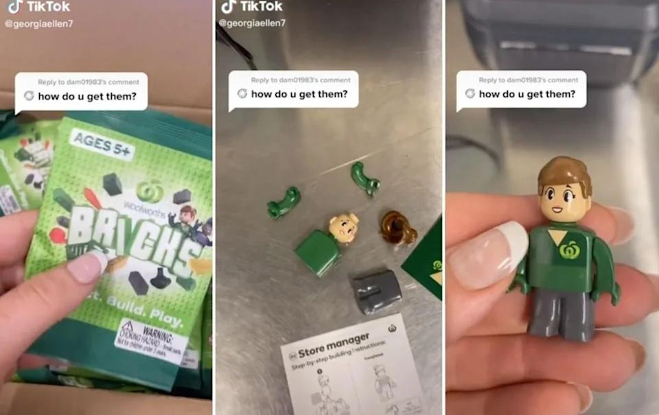 The Woolworths staffer explained how to build your own Brick person. Source: TikTok