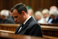 Paralympian athlete Oscar Pistorius (L), accused of the murder of his girlfriend Reeva Steenkamp three years ago, looks on during the hearing in his murder trail at the High Court in Pretoria, on July 6, 2016. Paralympian Oscar Pistorius will learn on July 6 how long he will spend in jail when a judge sentences him for murdering his girlfriend Reeva Steenkamp three years ago. Pistorius was freed from prison in the South African capital Pretoria last October after serving one year of a five-year term for culpable homicide -- the equivalent of manslaughter. / AFP PHOTO / POOL / MARCO LONGARI (Photo by Xinhua/Sipa USA)