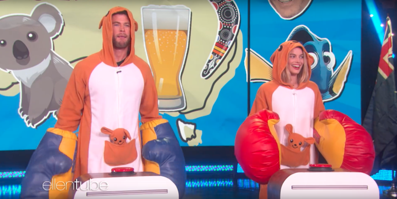 The Aussie duo were dressed in kangaroo outfits and oversize boxing gloves. Source: Ellen