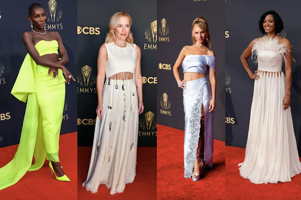 Michaela Coel, Gillian Anderson, Juno Temple and Renee Elise Goldsberry all showcased peek-a-boo stomachs at last night's Emmy's. (Getty Images)