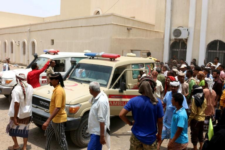 Ambulances transport casualties of strikes on the Al-Anad airbase to the Ibn Khaldun hospital in Yemen's government-held southern province of Lahij (AFP/Saleh OBAIDI)