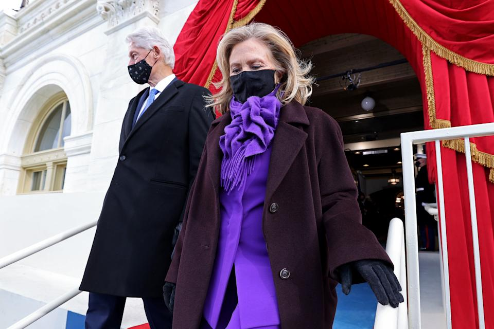 Former US President Bill Clinton and his wife Hillary Clinton are seen before US president-elect Joe Biden is sworn in as the 46th US President. (Jonathan Ernst/POOL/AFP via Getty Images)