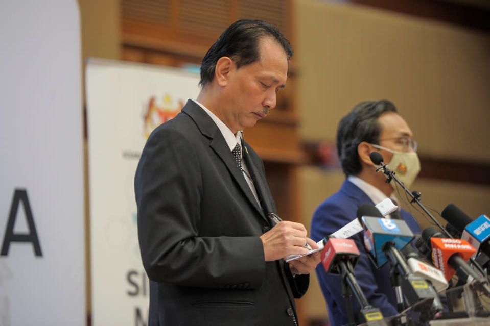 Health Director-General Tan Sri Dr Noor Hisham Abdullah in his daily press briefing said that of the new cases today, only two were imported. — Picture by Shafwan Zaidon