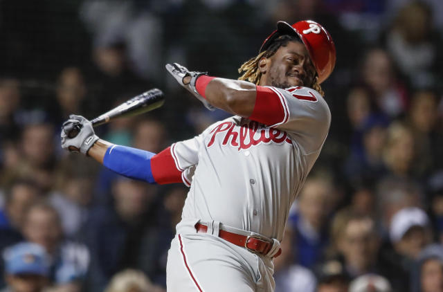 Philadelphia Phillies' Odubel Herrera bats against the Chicago Cubs during the fifth inning of a baseball game, Monday, May 20, 2019, in Chicago. (AP Photo/Kamil Krzaczynski)