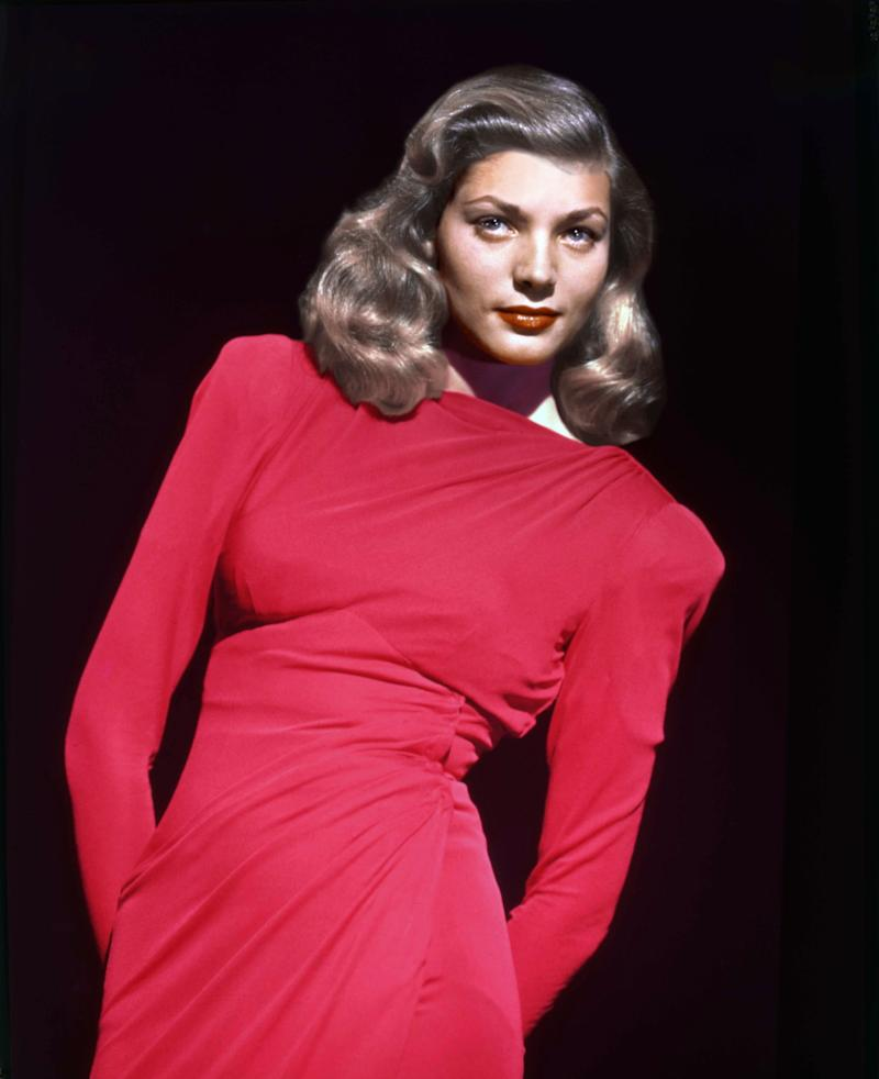 The actress wears a bold red dress in this undated photo.
