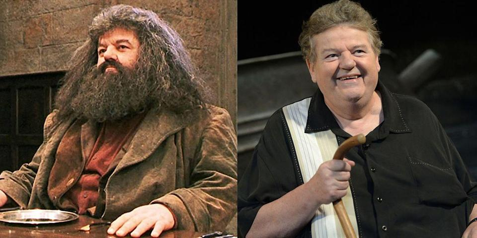 """<p><strong>First Film: </strong><em>Harry Potter and the Sorcerer's Stone </em></p><p><strong>Character Played: </strong>Rubeus Hagrid</p><p><strong>Age: </strong>70</p><p>It's <a href=""""https://www.independent.co.uk/arts-entertainment/films/news/harry-potter-fantastic-beasts-3-eddie-redmayne-daniel-radcliffe-hagrid-a9460426.html"""" rel=""""nofollow noopener"""" target=""""_blank"""" data-ylk=""""slk:rumored that Coltrane"""" class=""""link rapid-noclick-resp"""">rumored that Coltrane</a> could reprise his role as the gentle giant in the <em>Harry Potter </em>prequel <em>Fantastic Beasts 3</em>.<strong><br></strong></p>"""