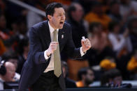 FILE - In this Feb. 19, 2019, file photo, then-Vanderbilt coach Bryce Drew encourages his players during the second half of an NCAA college basketball game against Tennessee, in Knoxville, Tenn. Bryce Drew is the new head coach at Grand Canyon University. Drew has three Division I transfers joining the program he took over in March. (AP photo/Wade Payne, File)