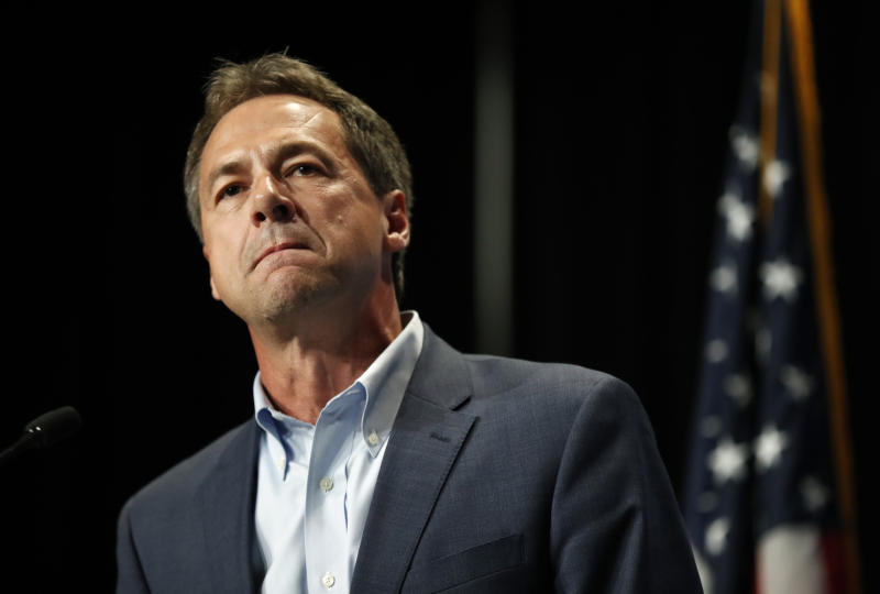 Democratic presidential candidate Steve Bullock speaks during the Iowa Democratic Party's Hall of Fame Celebration, Sunday, June 9, 2019, in Cedar Rapids, Iowa. (AP Photo/Charlie Neibergall)