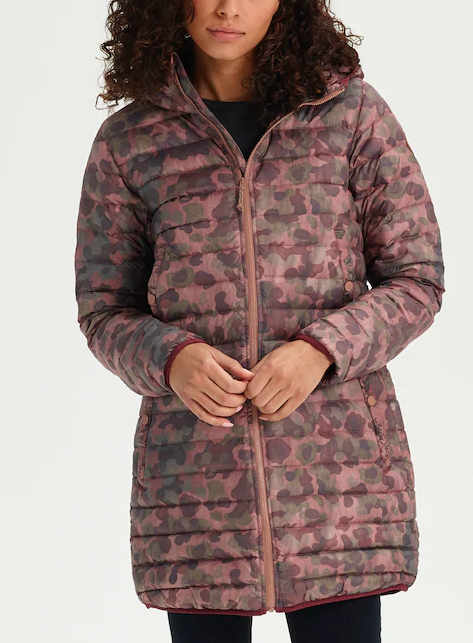 """<p>This stunning mid-length coat is lightweight enough to pack away in a suitcase but warm enough to keep you toasty — and the chic kind-of-camo-kind-of-floral pattern is neutral while still offering a pop of personality for dreary winter days. Feel as good about the eco-conscious, responsibly-sourced down and bluesign® approved materials as you do about the sale price.<br><strong>SHOP IT: <a href=""""https://www.burton.com/ca/en/p/womens-evergreen-long-down-jacket/W19-205161.html"""" rel=""""nofollow noopener"""" target=""""_blank"""" data-ylk=""""slk:Burton, $245"""" class=""""link rapid-noclick-resp"""">Burton, $245</a> </strong>(regular $350)<br><i>(Photo courtesy Burton)</i> </p>"""