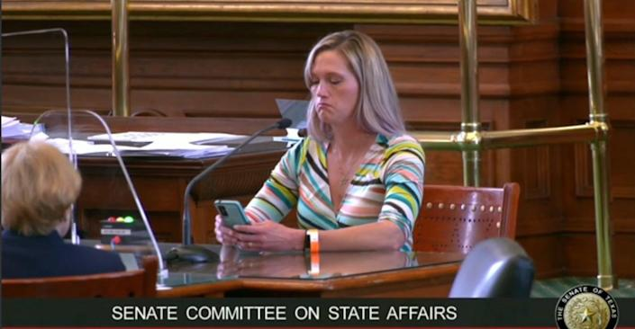 <p>Amber Briggle speaking at the Texas Senate Committee on State Affairs against four bills that would criminalise parents who support their transgender children</p> (Screengrab/ AmberBriggle youtube)