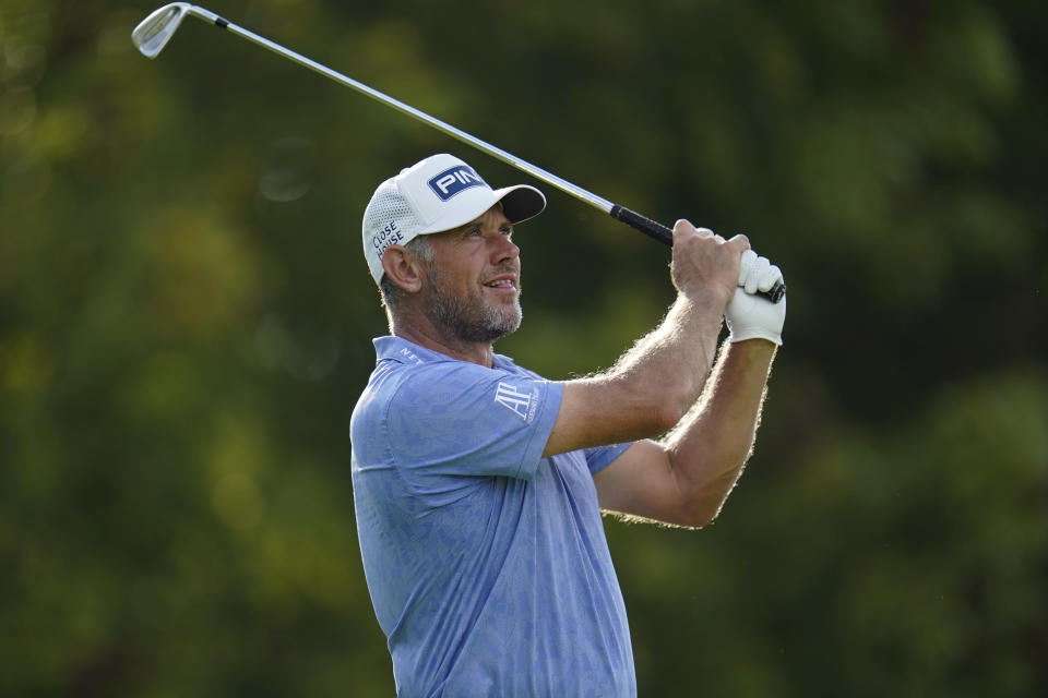 Lee Westwood, of England, tees off on the the 13th hole during the first round of the BMW Championship golf tournament, Thursday, Aug. 26, 2021, at Caves Valley Golf Club in Owings Mills, Md. (AP Photo/Julio Cortez)