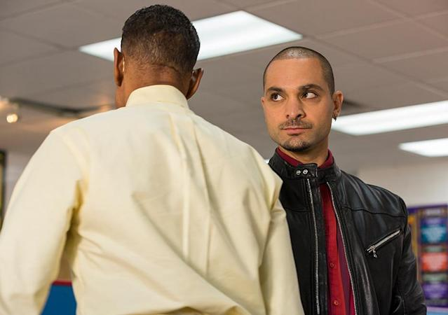 Giancarlo Esposito as Gus Fring and Michael Mando as Nacho Vargas in 'Better Call Saul' (Credit: AMC)