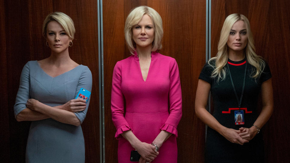 Charlize Theron, Nicole Kidman and Margot Robbie in 'Bombshell'. (Credit: Lionsgate)
