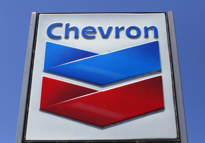 A Chevron gas station sign is seen in Del Mar, California