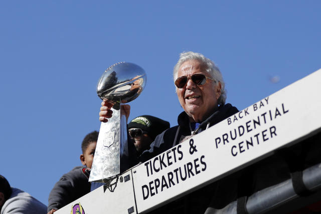 Patriots owner Robert Kraft faces two misdemeanor counts of solicitation of prostitution in Florida. (Getty Images)
