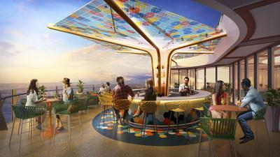 The world's largest cruise ship, Wonder of the Seas, will debut in the U.S. and Europe in 2022. Joining the lineup of returning favorites, such as The Ultimate Abyss – the tallest slide at sea, are all-new features. The new cantilevered bar, The Vue, offers panoramic ocean views from high above on the pool deck. After sunset, it shines bright with a colorful mosaic canopy overhead.