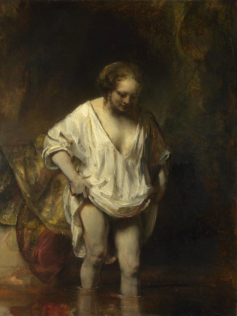 A Woman bathing in a Stream, 1654 by Rembrandt
