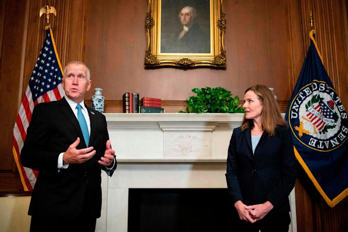 North Carolina Sen. Thom TillisSen. Thom Tillis, R-North Carolina, said Friday, Oct. 2, 2020 that they had tested positive for the virus. Sen. Thom Tillis attended a ceremony for Barrett at the White House on Sept. 25 with President Donald Trump.