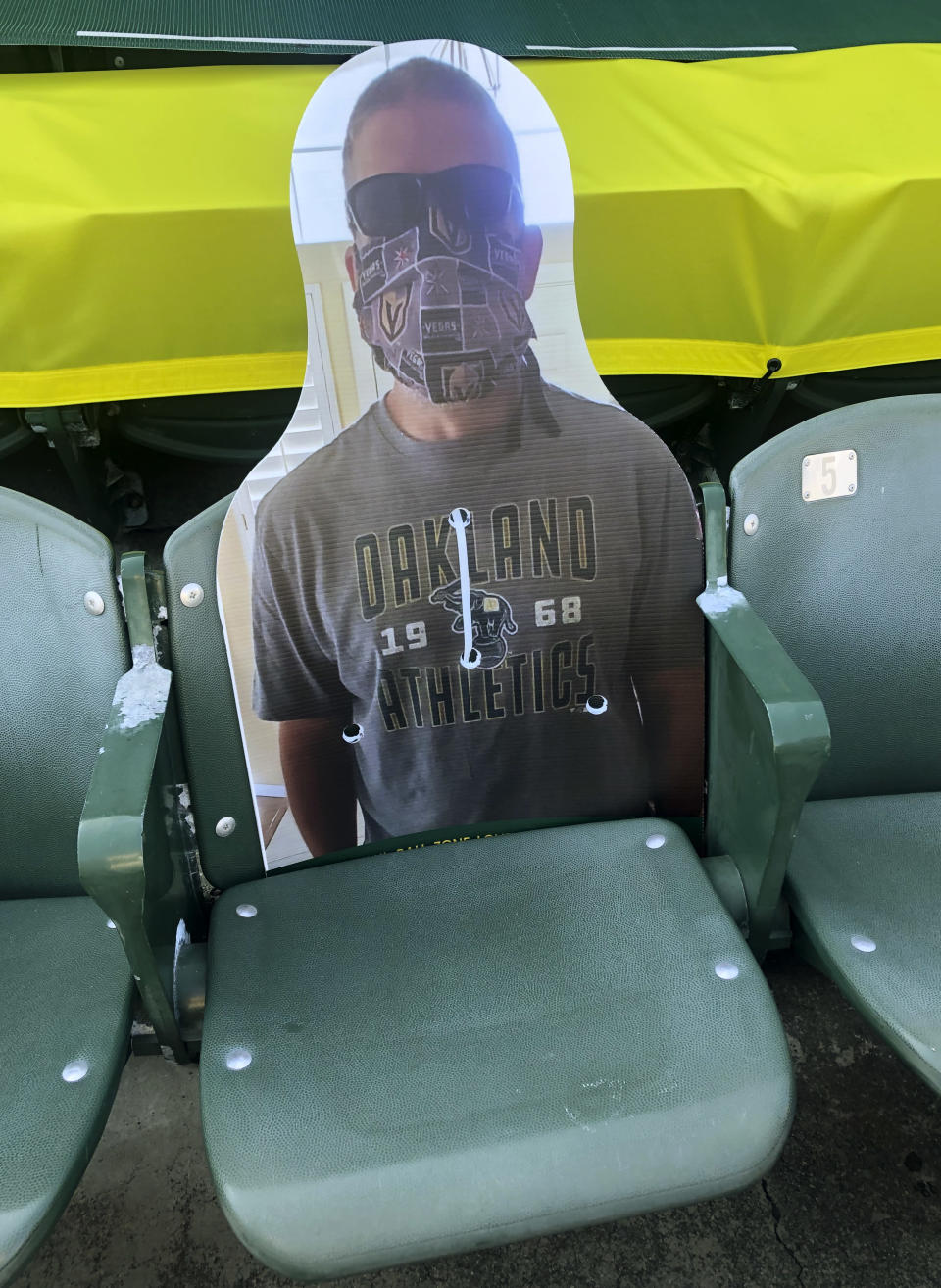 A cardboard cutout depicting A's fan Richard Lovelady of Henderson, Nev., is displayed in a section of the Oakland Coliseum after the baseball game between the Los Angeles Angels and the Oakland Athletics on Monday, July 27, 2020, in Oakland, Calif. An approach taken by some teams is sending out souvenirs to fans if their cardboard cutout gets hit by a ball. The Longtime A's supporter lucked out last Friday night when his cutout section 126, row 24, seat 4 was struck by Matt Olson's foul.(AP Photo/Ben Margot)